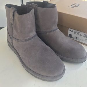 Uggs mini unlined classic boots. Gray, Size 7